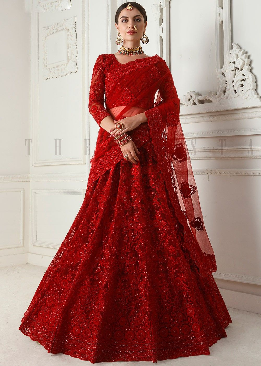 Red Net Embroidered Bridal Lehenga Choli