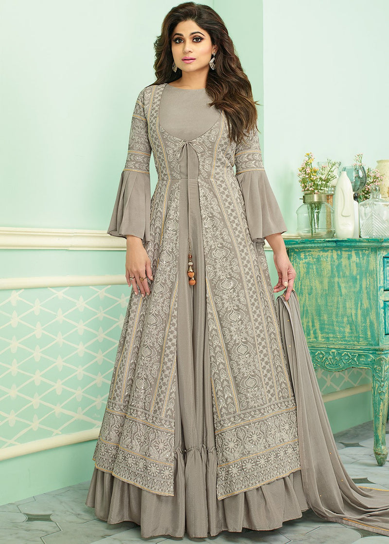 Grey Bell Sleeved Embroidered Jacket Style Suit