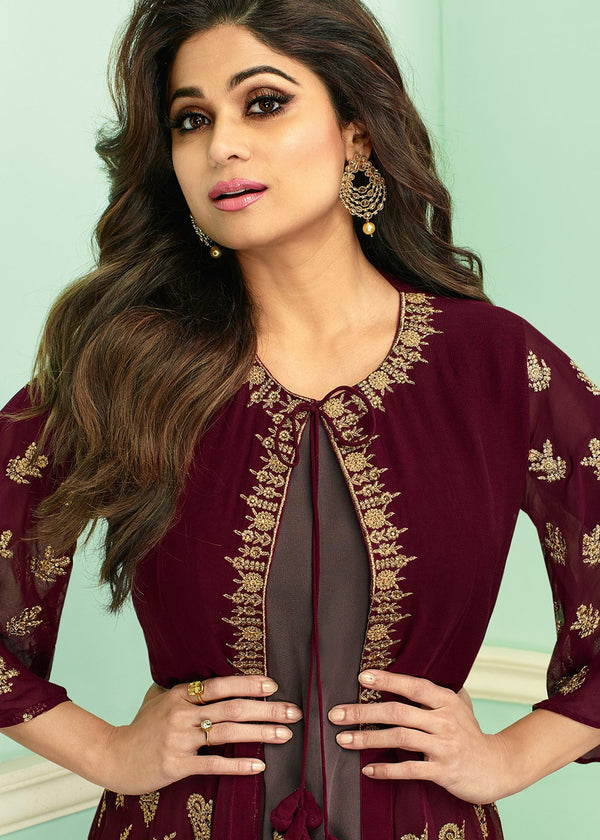 Maroon Embroidered Jacket Style Palazzo Suit