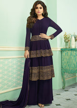 Embroidered Palazzo Suit in Purple