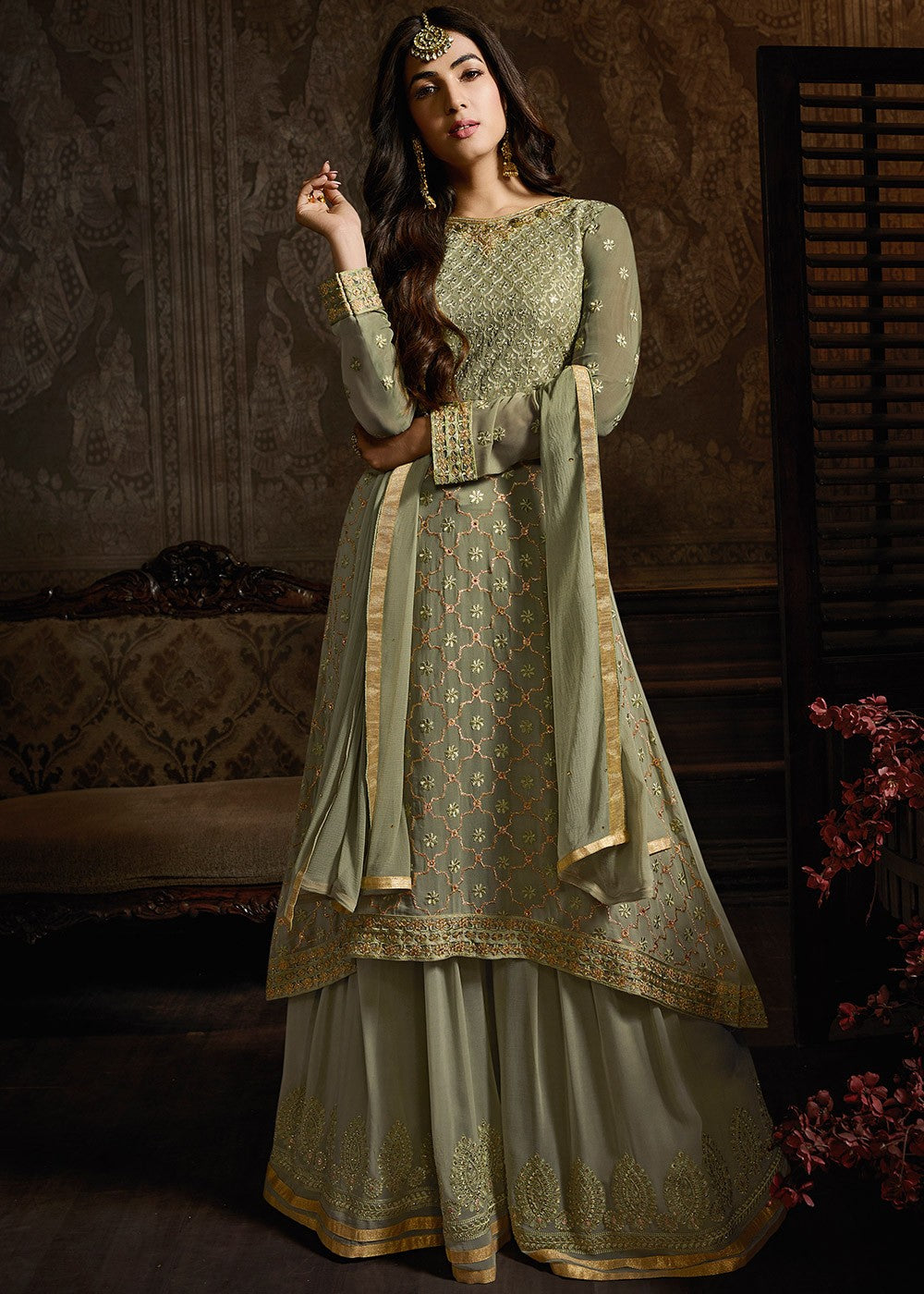 Embroidered Georgette Sharara Suit in Dusty Green