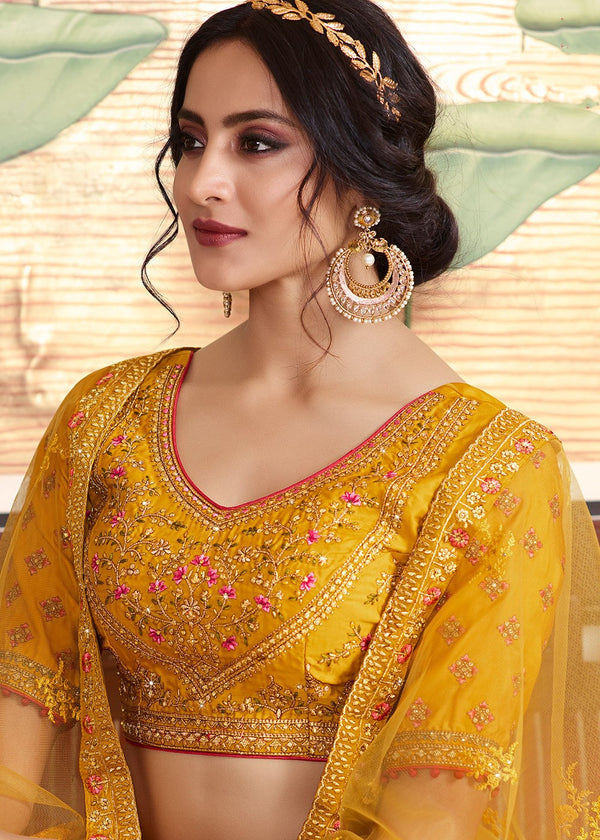 Embroidered Art Silk and Net Lehenga in Mustard