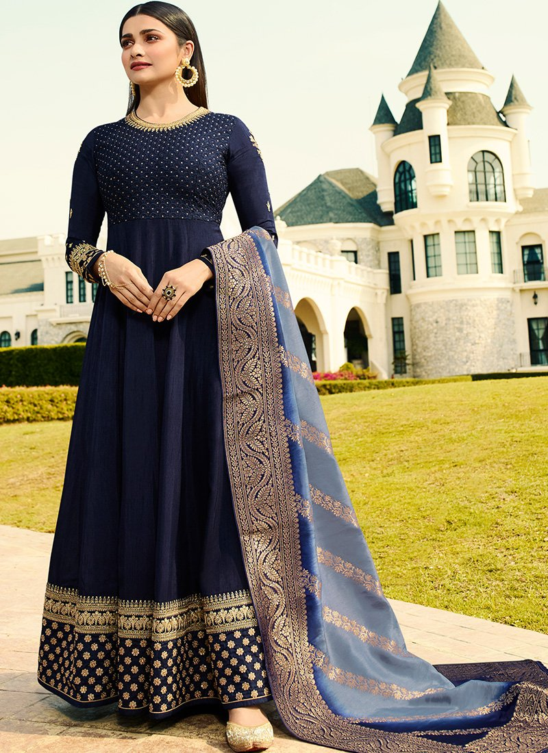 Embroidered Full Sleeve Abaya Style Kameez in Dark Blue