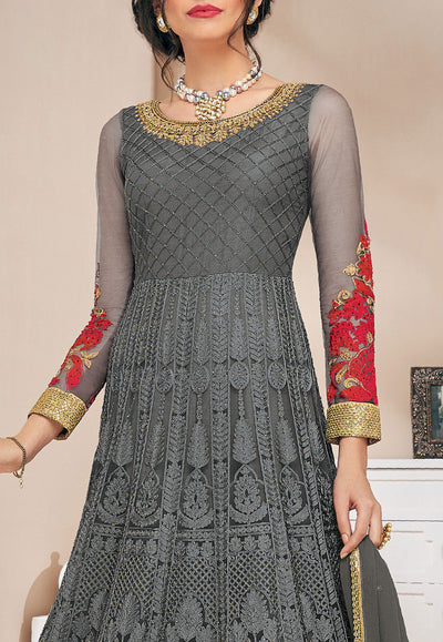 Full Sleeve Embroidered Net Abaya Style Dress in Grey