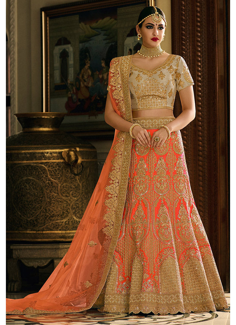 Orange Art Silk Lehenga with Sweet Heart Neck Choli