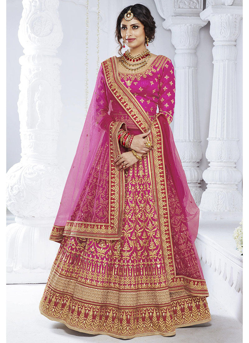 Pink Bhagalpuri Silk Wedding Lehenga Choli