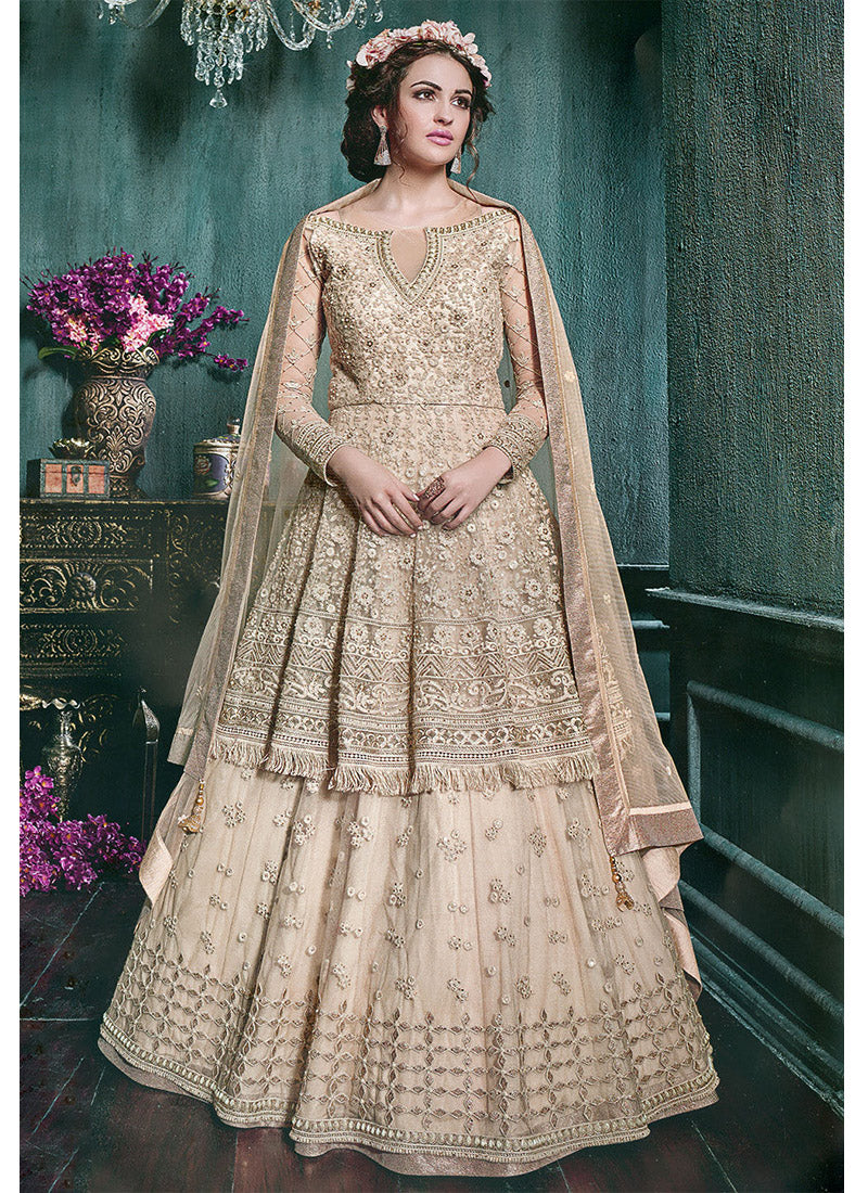Designer Embroidered Net Lehenga with Full Sleeve Kameez