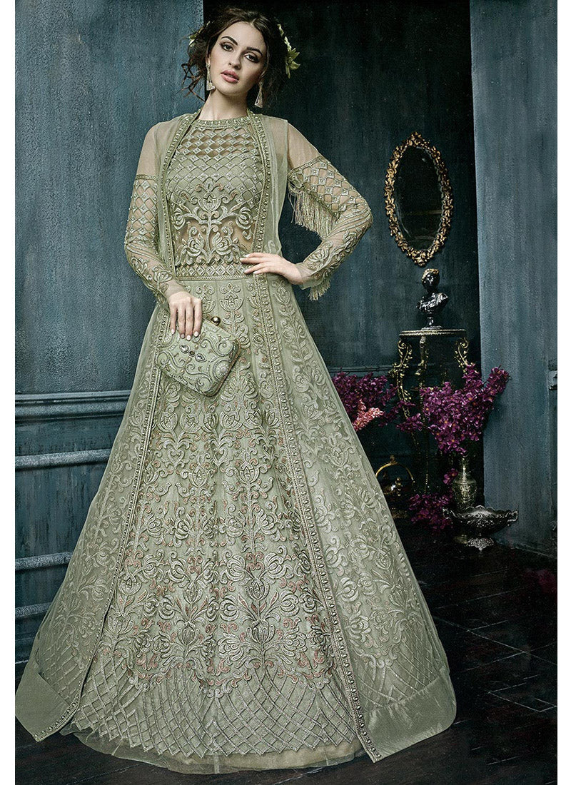 Net Designer Wedding Lehenga Choli in Green