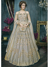 Grey Cold Shoulder Embroidered Net Designer Lehenga