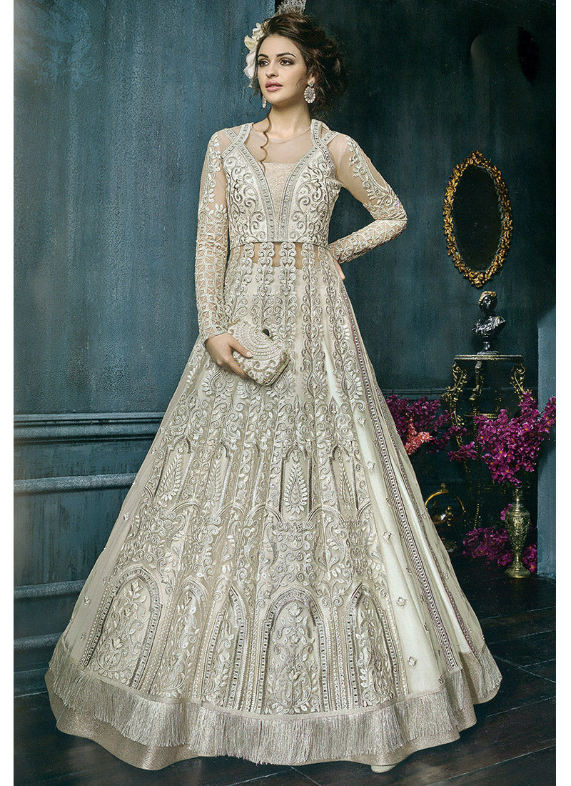 Off White Designer Embroidered Full Sleeve Net Lehenga