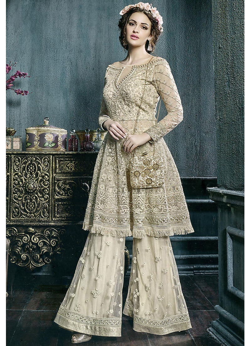 Semi Stitched Net Kameez with Palazzo Pants