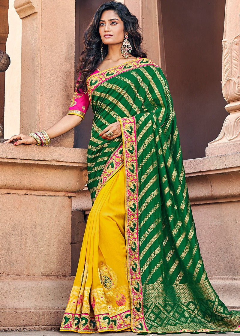 Art Silk Jacquard Saree in Dark Green and Yellow