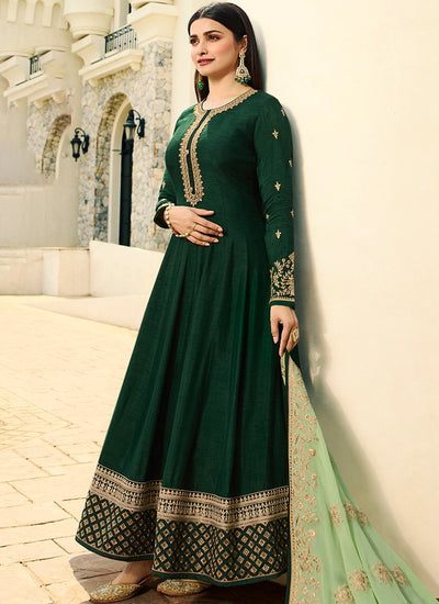 Embroidered Full Sleeve Abaya Style Kameez in Green