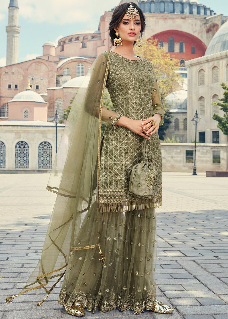 Green Embroidered Net Gharara Suit