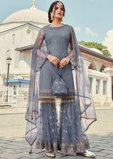 Grey Embroidered Net Gharara Suit