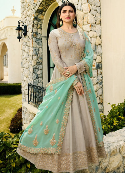 Embroidered Dhupioni Silk Long Abaya Style Kameez with Banarasi Silk Dupatta