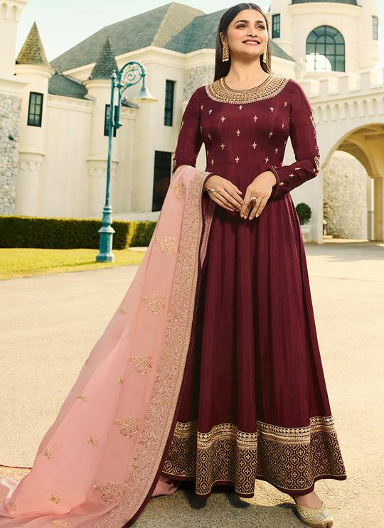 Embroidered Maroon Abaya Style Kameez with Banarasi Silk Dupatta