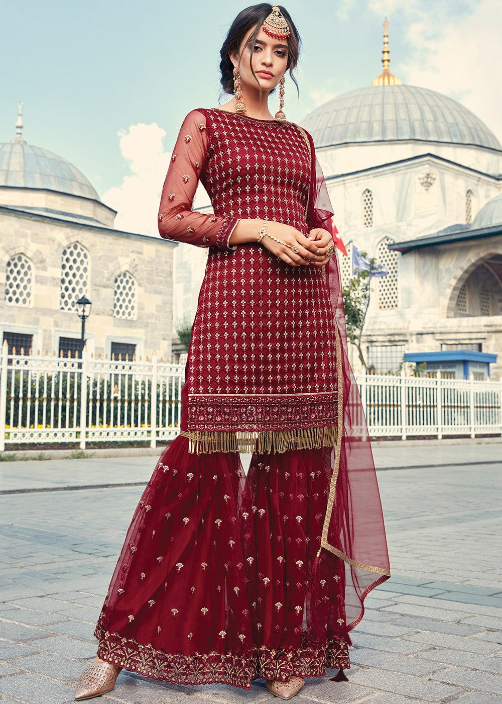 Red Embroidered Net Gharara Suit
