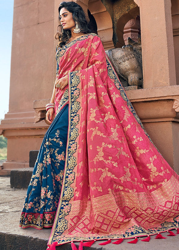 Art Silk Jacquard Saree in Pink and Teal Blue