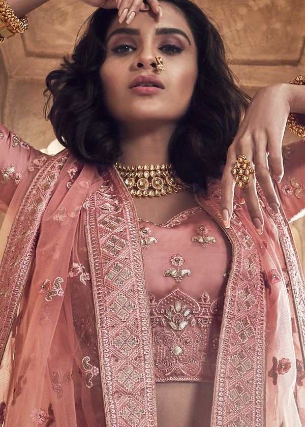 Embroidered Satin Lehenga in Rose Gold