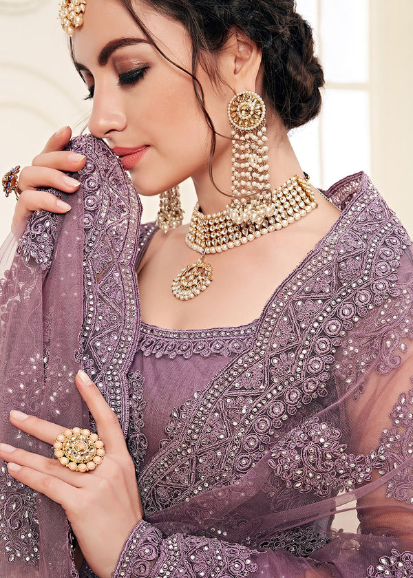 Embroidered Net Lehenga in Dusty Purple