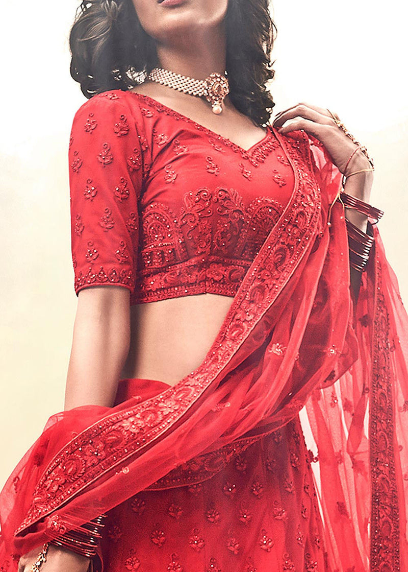 Embroidered Net Bridal Lehenga in Red