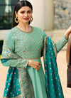 Embroidered Full Sleeve Abaya Style Kameez in Sea Green