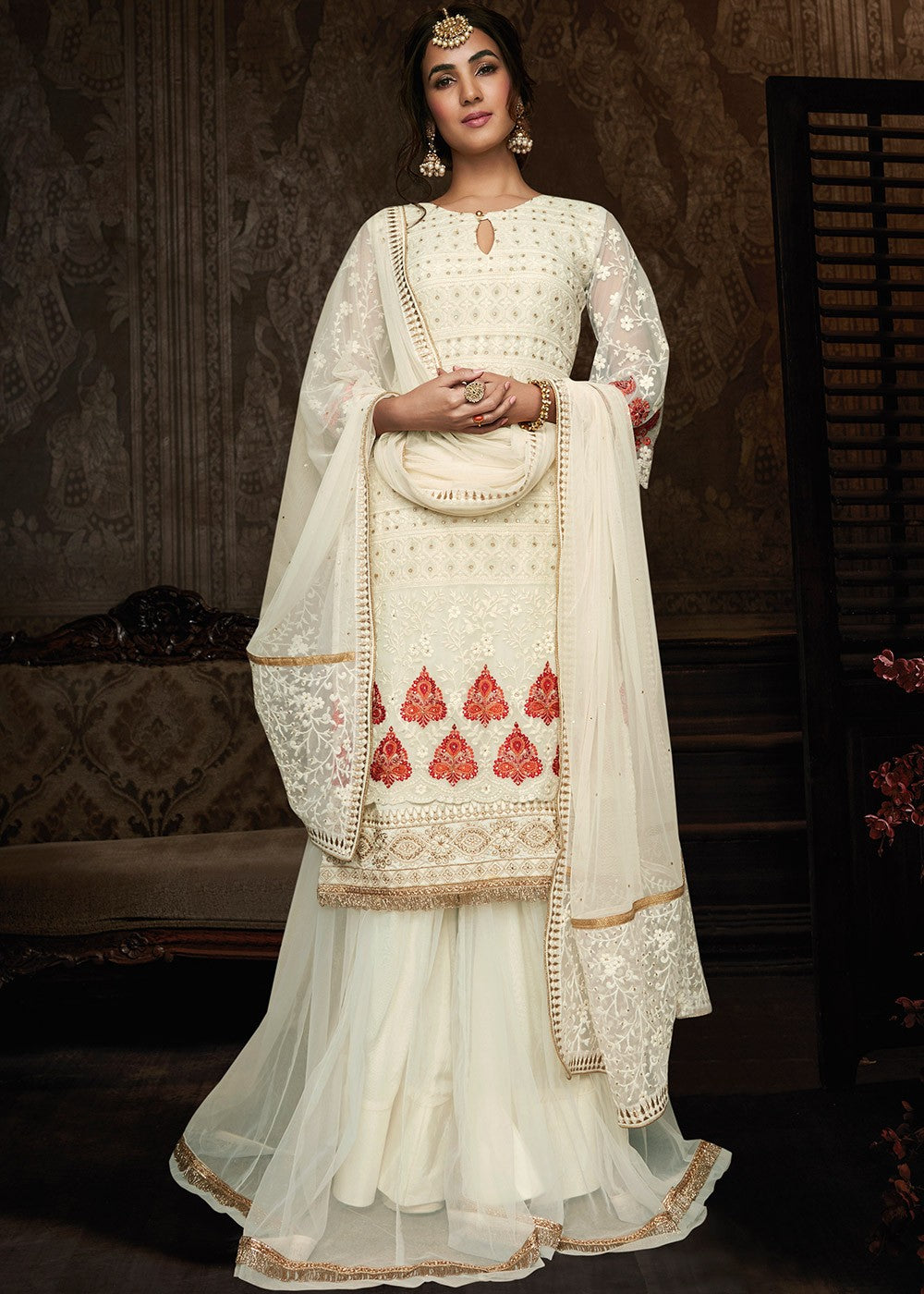 White Georgette Sharara Suit