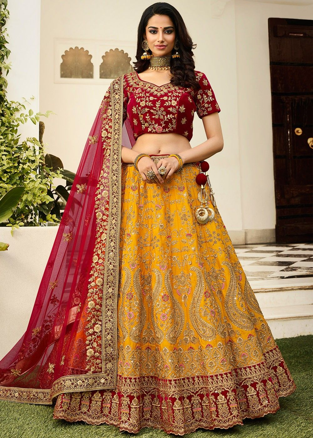 Yellow Silk Lehenga with Maroon Velvet Choli