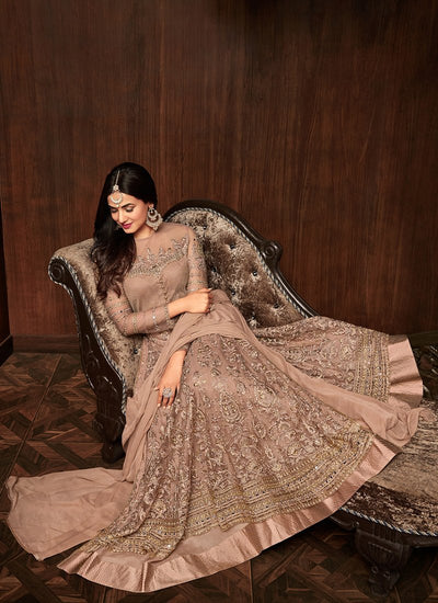 Brown Embroidered Net Ankle Length Anarkali