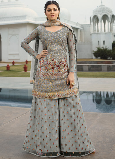 Grey Net Embroidered Sharara Suit