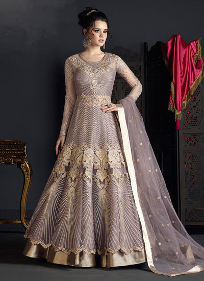 Embroidered Net Lehenga in Dark Lavender