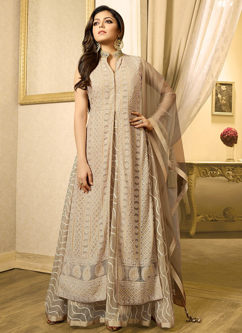 Beige Georgette and Net Abaya Style Suit
