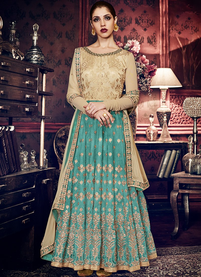 Beige and Turquoise Abaya Style Anarkali