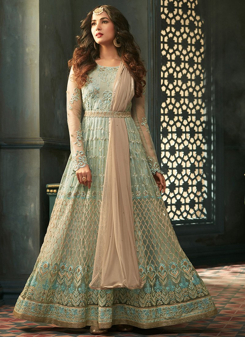 Light Blue Embroidered Anarkali Suit