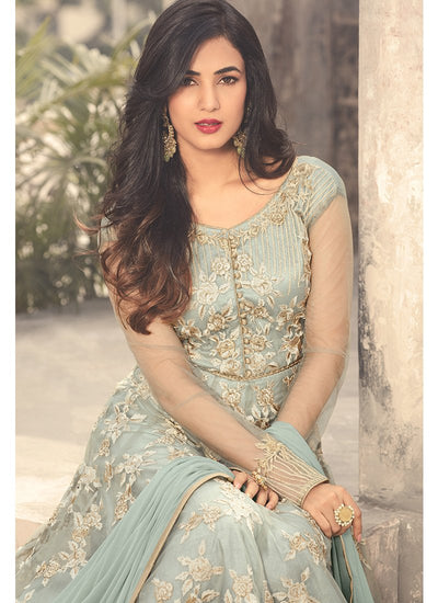 Light Blue Embroidered Net Anarkali Suit