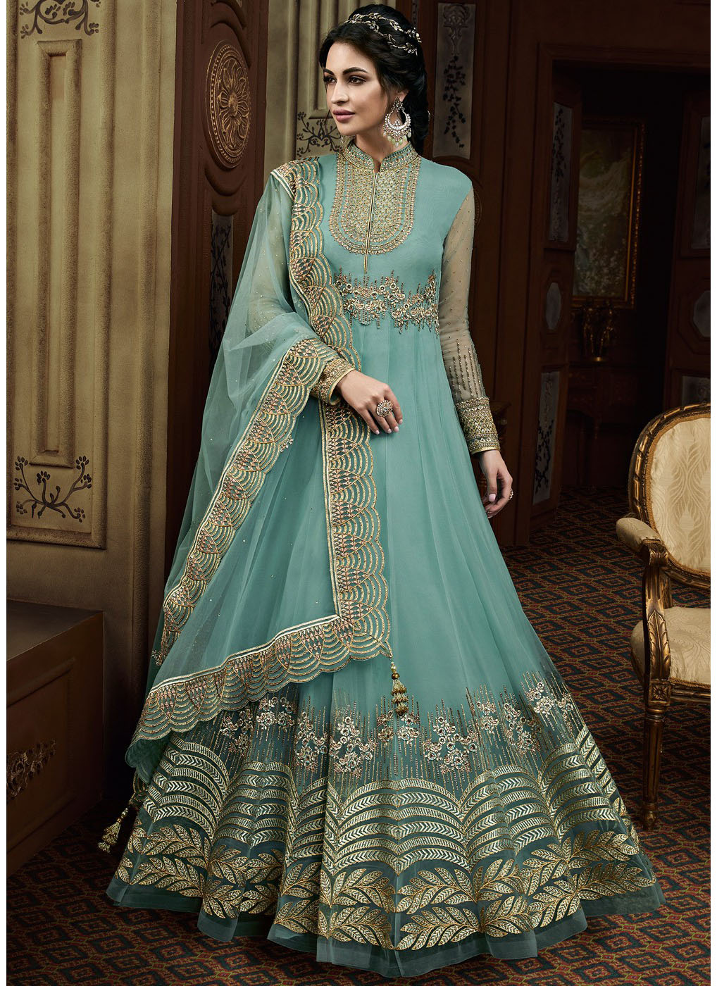 Embroidered Abaya Style Anarkali with Mandarin Collar