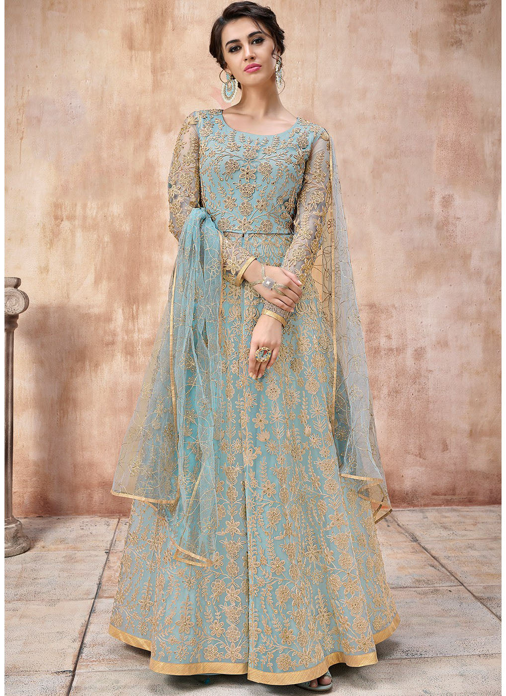 65b565e088 Net Embroidered Abaya Style Kameez in Light Blue