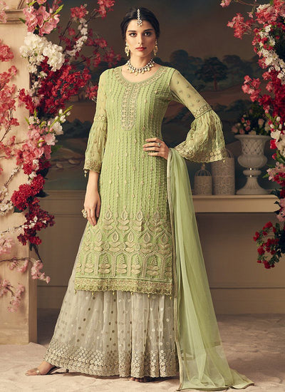 Thread Embroidered Sharara Suit in Light Green