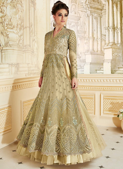 Green Embroidered Net Party Wear Lehenga