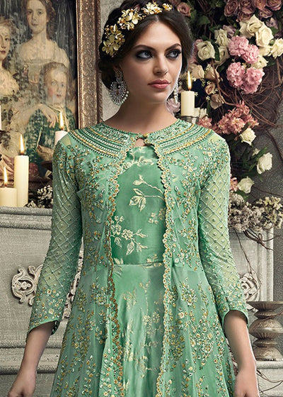 Green Satin Anarkali Suit with Net Jacket