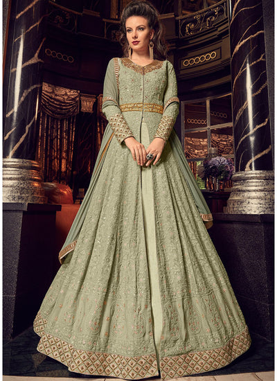 Kurti Style Lehenga in Light Green