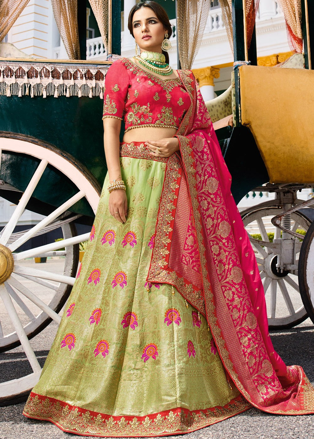 030ea8f4b5 Light Green Pure Silk Lehenga with Red Art Silk Choli - Haya Creations