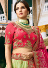 Light Green Pure Silk Lehenga with Red Art Silk Choli