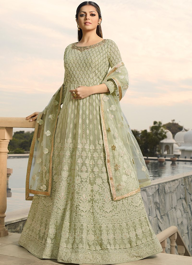 Thread Embroidered Georgette Anarkali in Light Green
