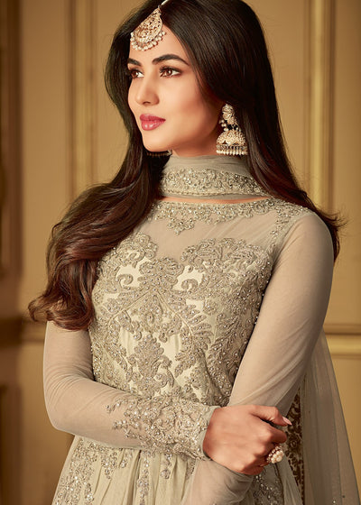 Sonal Chauhan Light Grey Embroidered Anarkali Suit