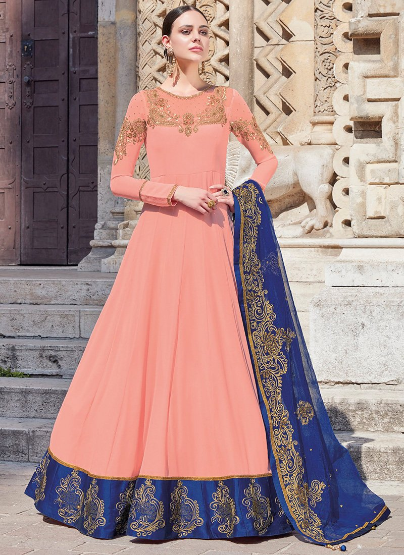 Dusty Pink Georgette Abaya Style Suit