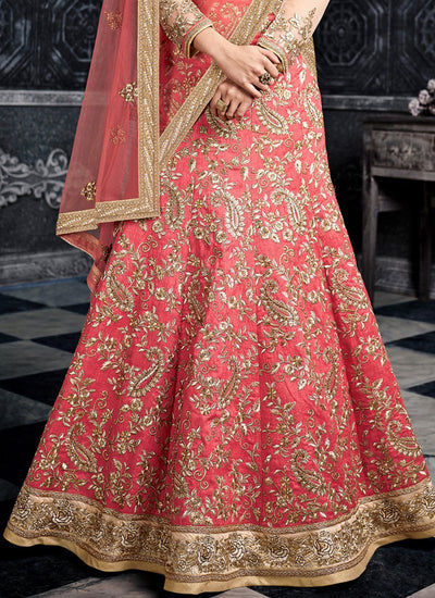 Stunning Pink Art Silk Embroidered Lehenga with Full Sleeve Choli