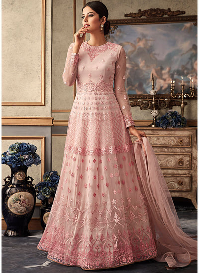 Pink Floor Length Wedding Anarkali Salwar Kameez