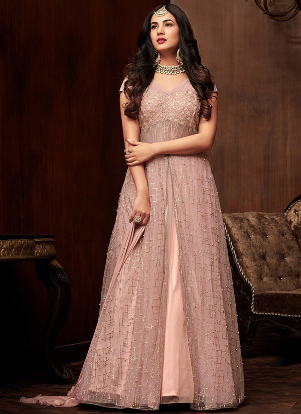 Light Pink Embroidered Net Anarkali Gown